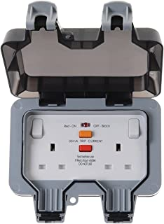 BG Electrical Double Weatherproof Outdoor Switched Power Socket with Latching RCD, IP66 Rated, 13 Amp