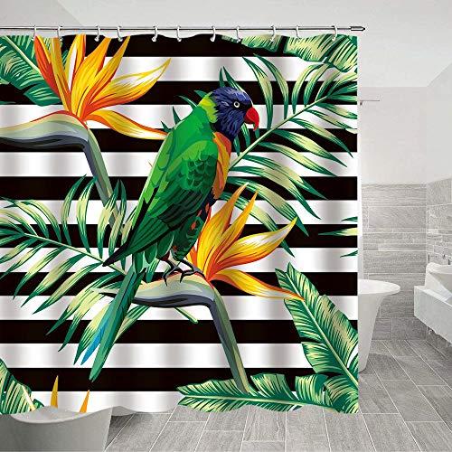 Papageien-Duschvorhang mit grünen Blättern, Individuellkeit, mehrfarbig, kreative Textur, waschbar, Badezimmer-Vorhang-Sets mit Haken, Dekoration, 178 x 178 cm