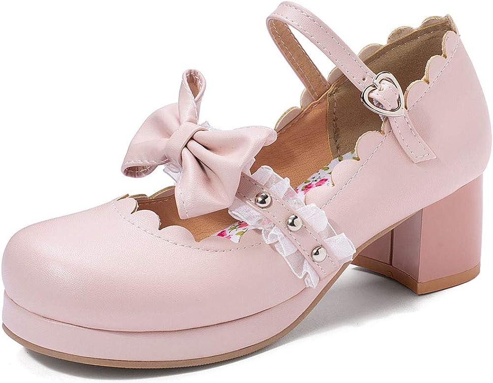 VIMISAOI Women's Sweety Regular discount Lolita Mary Shoes Heel Jane Chunky security Mid