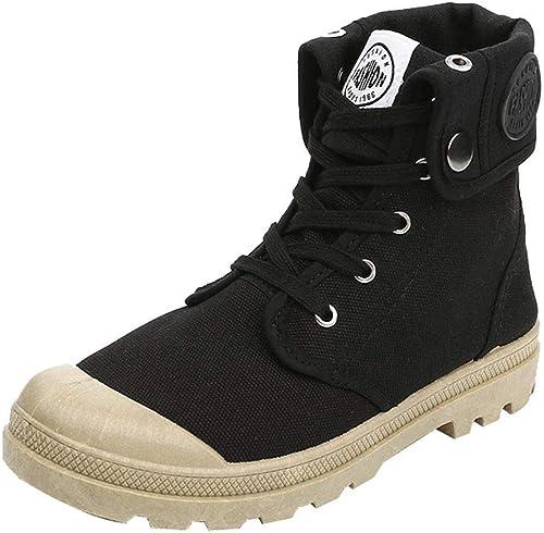 ZHRUI Femmes Bottes Palladium Style Fashion Haut-Haut Sport Sport Sport Militaire Bottines Chaussures Décontracté (Couleuré   Noir, Taille   3.5 UK) bad