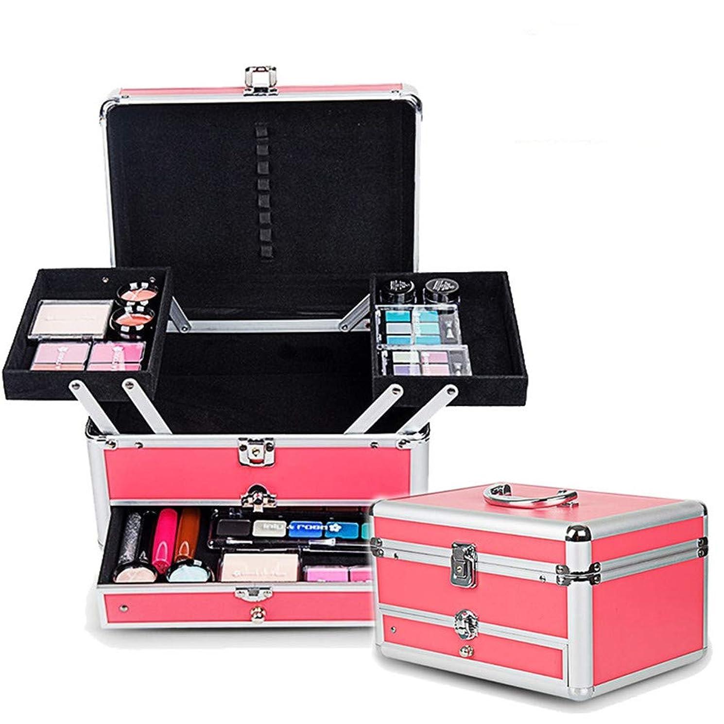 スクラブグローポータル特大スペース収納ビューティーボックス 女の子の女性旅行のための新しく、実用的な携帯用化粧箱およびロックおよび皿が付いている毎日の貯蔵 化粧品化粧台 (色 : ピンク)
