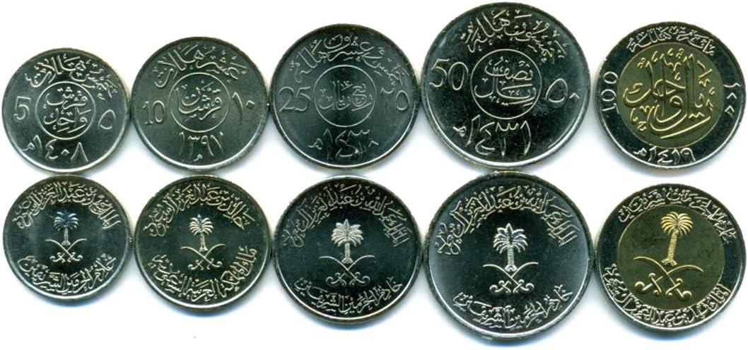 Saudi Arabia 5 Coins Set 1977 5-100 5% OFF Collectible Halala UNC Spasm price