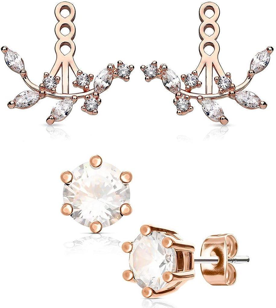 Rose Gold Ear Jackets Cartilage Cuff 7 CZ Diamond Vintage Fan Earring Jackets  SET of TWO  Fits Standard Earrings up to 16G Piercing Jewelry