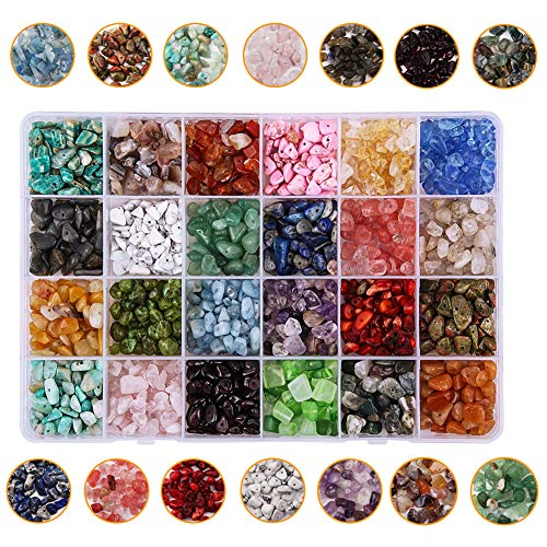 Dushi Natural Irregular Chips Stone Beads for Jewelry Making 7-8mm Gemstone Stone Crushed Chunked Beads 24 Multicolor Crystal Pieces Loose Beads Repair Kit(Plastic Box is Included)