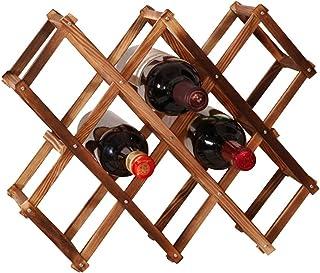 /étag/ère /à vin Flottante et Support en Verre pour Maison 5 Bouteilles Porte-Bouteille et Verre WOFEI Support /à vin Mural Rond en Bois Massif