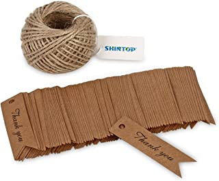 Shintop Thank You Tags - 100PCS Kraft Paper Gift Tags Bonbonniere Favor Wedding Hang Tags with Free 100 Feet Natural Jute Twine (Brown)