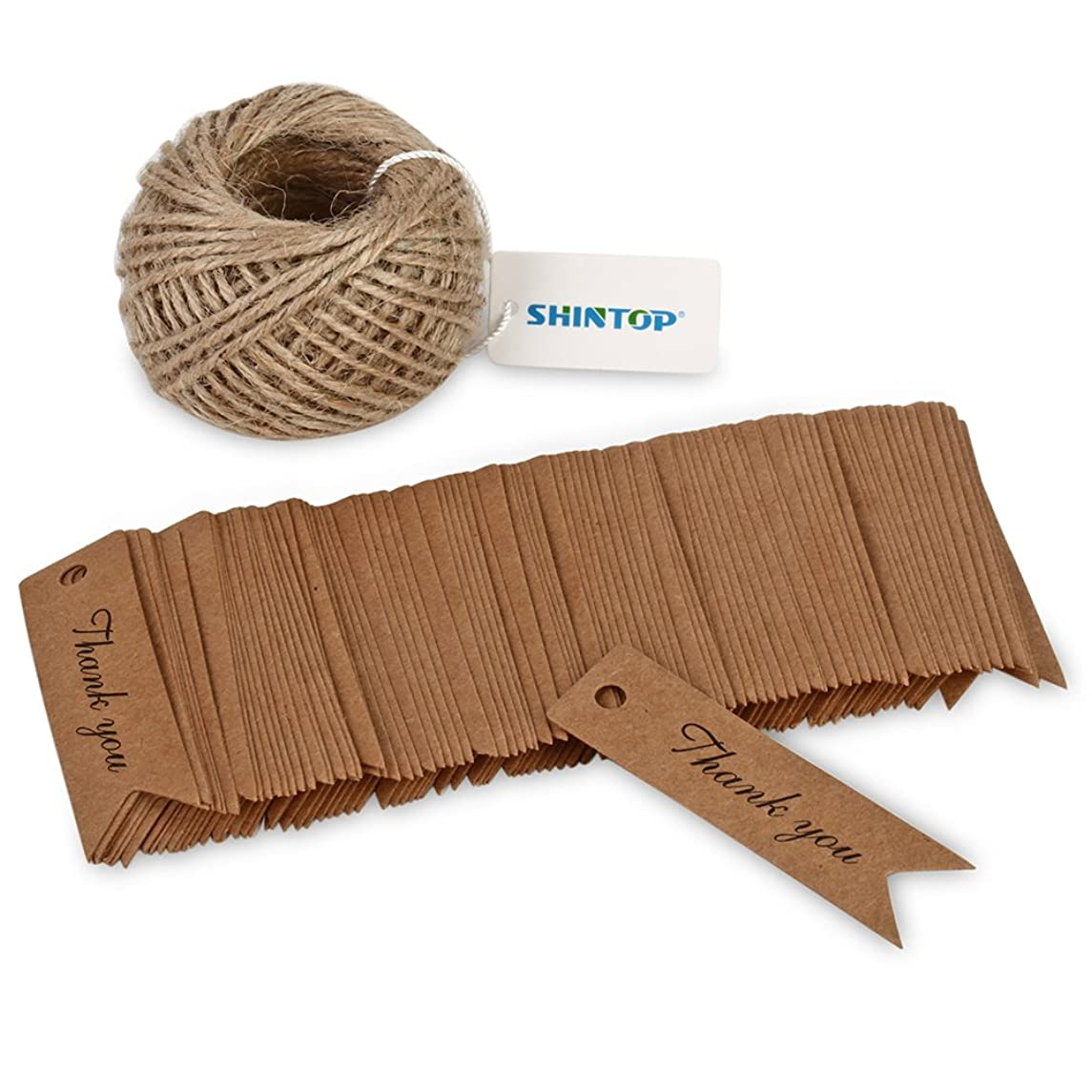 Shintop Thank You Tags - 100PCS Kraft Paper?Gift Tags?Bonbonniere Favor?Wedding Hang Tags with Free 100 Feet Natural Jute Twine (Brown)