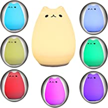 Children Night Light,Solmore LED Cute Silicone Cat Lamp,Kids Bedside Lights,Warm White/7-Colour Single/Color changing,USB Rechargeable,Sensitive Tap Control Fairy Light for Baby Bedroom Nursery Birthd