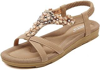 SHIBEVER Summer Flat Gladiator Sandals for Women Comfortable Casual Beach Shoes Platform Bohemian Beaded Flip Flops Sandals