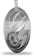 Sterling Silver Oval Raven Pendant Pacific Northwest Coast Native
