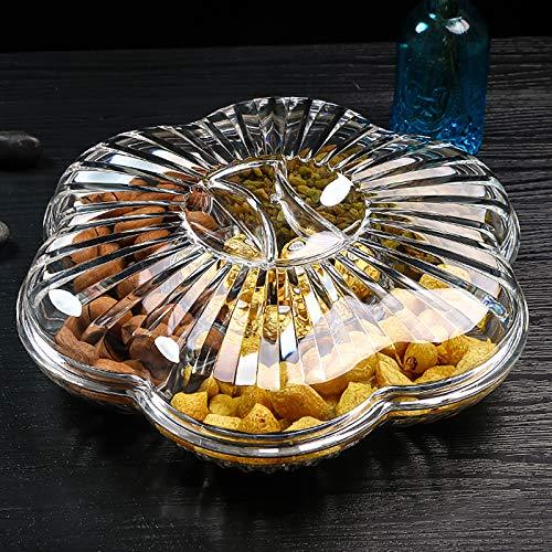 QTQHOME Clair Acrylique Boîte à Goûter avec Housse,Forme De Fleur 6-Compartiment Cristal Bonbonnière,Multifonction Divisé Boîte De Fruits Secs Plateau pour Cookies Écrou-Clair 32x10cm(13x4inch)