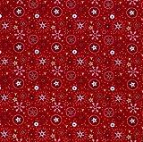 Stoff Meterware Baumwolle rot gold schwarz Schneeflocken