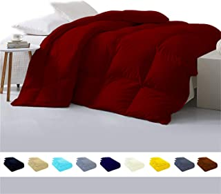 Luxury 800TC Egyptian cotton Comforter 500 GSM,Ultra-Soft, Plush Fiberfill All Season Comforter with Corner Tab & 4 inch hem Box stitched Double Brushed Superior & Durable(Full/Queen-Burgundy)
