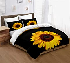 ayigu 2 Pieces Sunflower Duvet Cover Set (1 Duvet Cover + 1 Pillowcases) Twin Size Breathable Black Yellow Petal Bedding S...