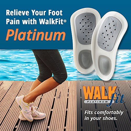 WalkFit Platinum Foot Orthotics Plantar Fasciitis Arch Support Insoles Relieve Foot Back Hip Leg and Knee Pain Improve Balance Alignment Over 25 Million Sold