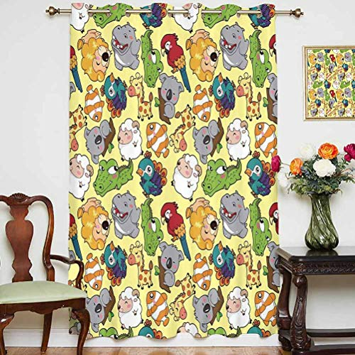 Children Window Curtain Funny Animals Hippo Giraffe Koala Parrot Crocodile Zoo Jungle Kids Nursery Graphic Grommets Panels Printed Curtains ,Single Panel 63x72 inch,for Sliding Door Multicolor