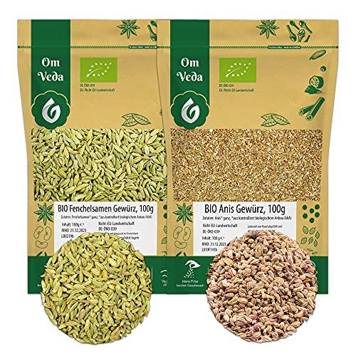BIO Anis + BIO Fenchel   Anissamen Fenchelsamen BIO Gewürze-Set   Teegewürz Pur   Für Gesunde Küche und Tee   Organic Bio-zertifiziert DE-ÖKO-039   200g (2x100g)