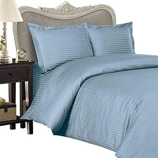 Luxurious 1200 Thread Count Egyptian Cotton 1200TC Twin Extra Long Sheet Set, Twin XL, Blue Stripe 1200 TC