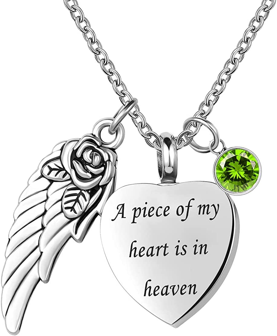 DWJSu Cremation Jewelry Heart Urn Necklace for Ashes A Piece of My Heart is in Heaven in Loving Memory Keepsake Necklace