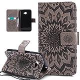 LG K5caso, LG, K5, ikasus), diseño de Mandala de flores de girasol patrón piel sintética plegable tipo cartera, funda de piel tipo cartera con función atril para tarjetas de crédito ID soportes carca