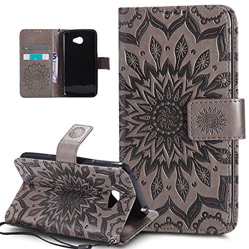 ikasus Custodia LG K5,Cover LG K5, Goffratura Mandala Fiori Girasole Modello Flip Cover Portafoglio PU Pelle Protective Wallet Stand Custodia Cover per LG K5/LG K8,Cover LG K5,Grigio