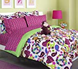 Teen Tween Girls Kids Bedding - FABIAN MONKEY Bed In A Bag. TWIN SIZE Comforter set -Plush Toy Included -Peace, Hearts - Hot Pink, Turquoise Blue, Purple, Green, Black and White