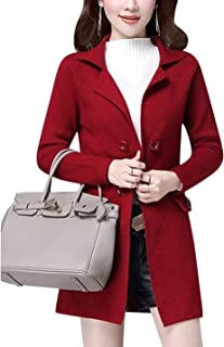 Tanming Women's Spring Casual Lapel Long Sleeve Knit Mid Long Cardigan Outerwear