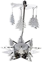 BANBERRY DESIGNS Christmas Candle - Candle Spinner with Laser Cut Xmas Tree Charms - 1 Smokeless Tealight Candle Included - Rotating Candle Spinners