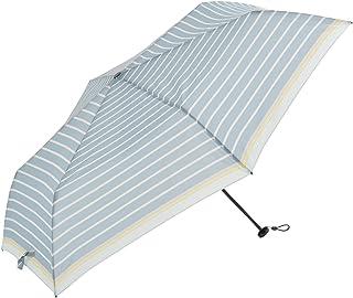 Nifty Colors(ニフティカラーズ) 折りたたみ傘 ブルー 50cm ボーダーカーボン軽量ミニ 6本骨 収納袋つき 1314BL
