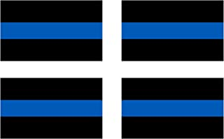 """4 Pack Thin Blue Line - Blue Lives Matter Flag Sticker 5x3"""" Support Local Law Enforcement Police Officers"""