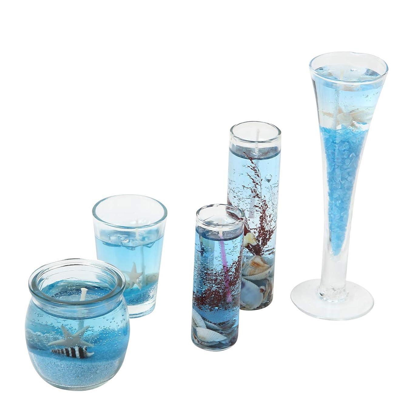 スクラップチャールズキージング実験室N-hilfe アロマキャンドル 貝殻 ジェル 5個 セット (青)