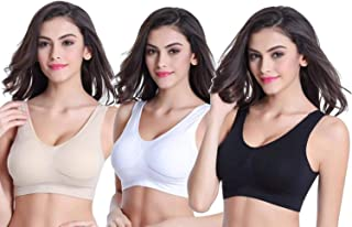 Dream Nd Girls/Women's Cotton Stretchable Non-Padded Wire Free Air Sports Bra Combo of 3 - (Black, White, Skin, Free Size)