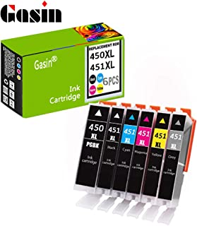 Gasin PGI550-CLI551 Compatible Ink Cartridge 5 Pack with Automatic Reset chip Replacement for Canon MG5450 MG5550 MG5650 MG6350 MG6450 MG6650 MG7150 MG7550 IX6850 Printer