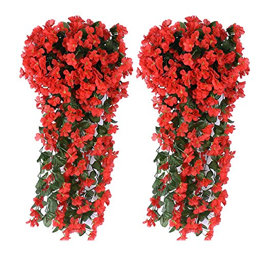 AUKUZI Artificial Violet Ivy Flowers, 2PCS Silk Hanging Basket Lifelike Garland for Home Wedding Garden/Yard String Floral Decoration (Red)