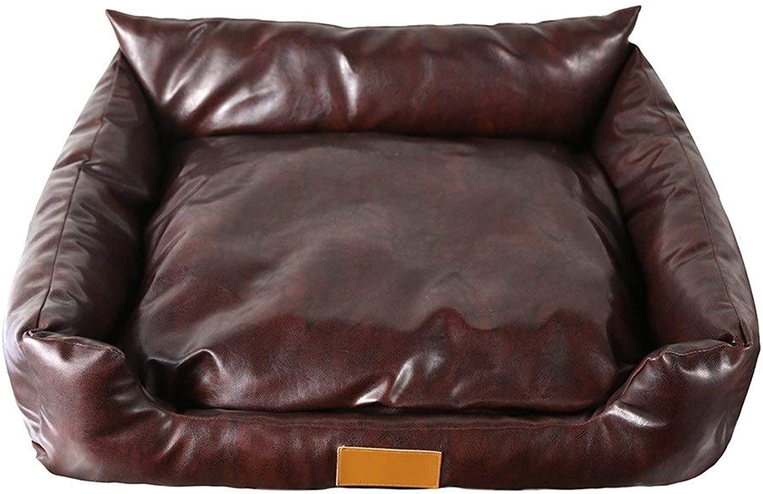 Dog Bed, Rectangular Leather Sofa Cushion Dog Cat Mat with Removeable Cover (Brown color) (Size   60  50  24cm)