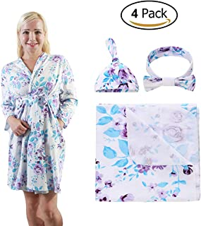4 Pack Maternity Dress and Baby Swaddle Blanket with Hat Headband Set, Stretchy Knitted Floral Nursing Robe and Matching Receiving Blankets, Mummy and Baby (Purple Flower, L)