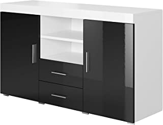 Aparador Moderno Modelo Roque Blanco Negro de melamina Brillo Ancho 140cm Alto 80cm Profundo 40cm
