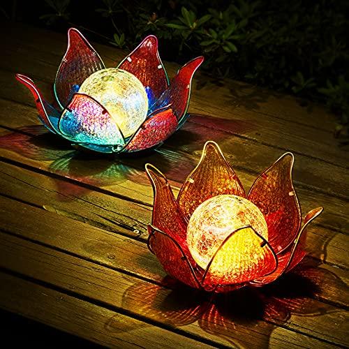 Kircust Solar Lights Outdoor, Metal Glass Lotus Lights Amber...