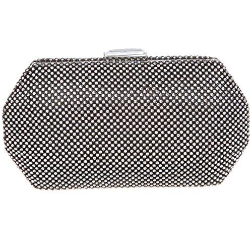 Fawziya Polygon Rhinestone Clutches Handle Clutch Purses For Women Evening Bag-Black