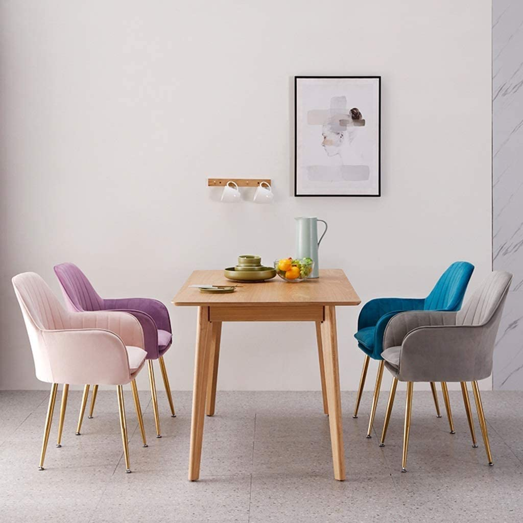 LH Accent Dinning Chair Canapé Fauteuil Élégant Velvet Support à Dossier Moderne Loisir Rembourré Chaise for Salon Loisir Chaises for Chambre (Color : Blue) Gray