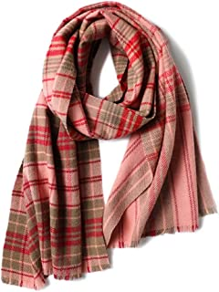 Scarves Scarf Scarves Women's Wool Scarf Autumn and Winter Plaid Shawl Thick Warm Scarf Fashion Shawl Scarves (Color : Pink, Size : 200 * 60cm)