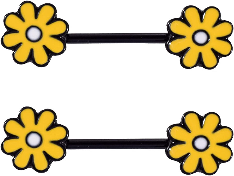 jieji 14G Stainless Steel Nipple Rings Sunflower CZ Nipplerings Straight Barbell Body Piercing Jewelry for Women Girls