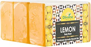 Divine India Lemon Soap - Anti Pigmentation + Skin Cleanser - Herbal and Handcrafted - 125 Gm (Pack Of 3)