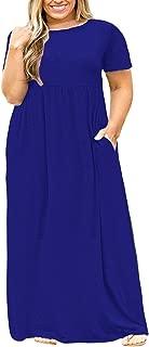 Women's Plus Size Tunic Swing T-Shirt Dress Short Sleeve Maxi Dress with Pockets
