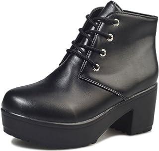 [ジルア] ショートブーツ 厚底 太ヒール 22.0cm~27.5cm レースアップ レディース 靴 紐 軽量 ブラック ホワイト #061