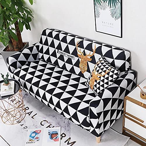 Funda Sofa 1 Plaza Triángulo Blanco Y Negro Fundas para Sofa con Diseño Elegante Universal,Cubre Sofa Ajustables,Fundas Sofa Elasticas,Funda de Sofa Chaise Longue,Protector Cubierta para Sofá