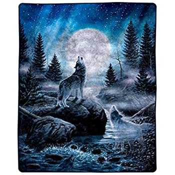 """Lavish Home Heavy Fleece Howling Wolf Pattern-Plush Thick 8 Pound Faux Mink Soft Blanket for Couch Sofa Bed  74"""" x 91 Multicolor"""