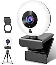 2K Webcam with Microphone Ring Light-HD Computer Camera with Privacy Cover & Tripod,Pro Streaming...