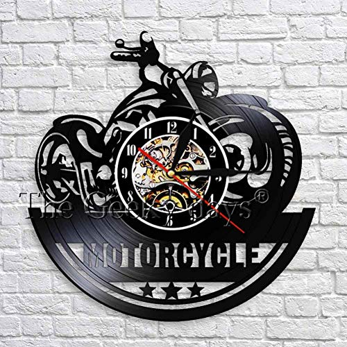 TIANZly Klassische Motorrad 3D Wanduhr mit LED Beleuchtung Garage Zeichen Motorrad Vintage Schallplatte Uhren Wanduhr Wohnkultur