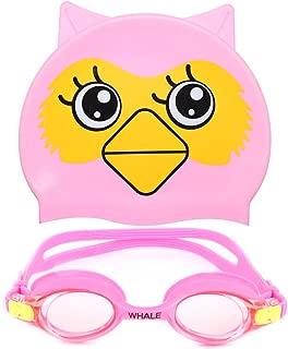 Finehealth Kids Swim Goggles + Swimming Cap(Age 2-12),Anti-Fog UV Protection Goggles for Kids,Silicon Animal Owl Design Kids Swimming Cap